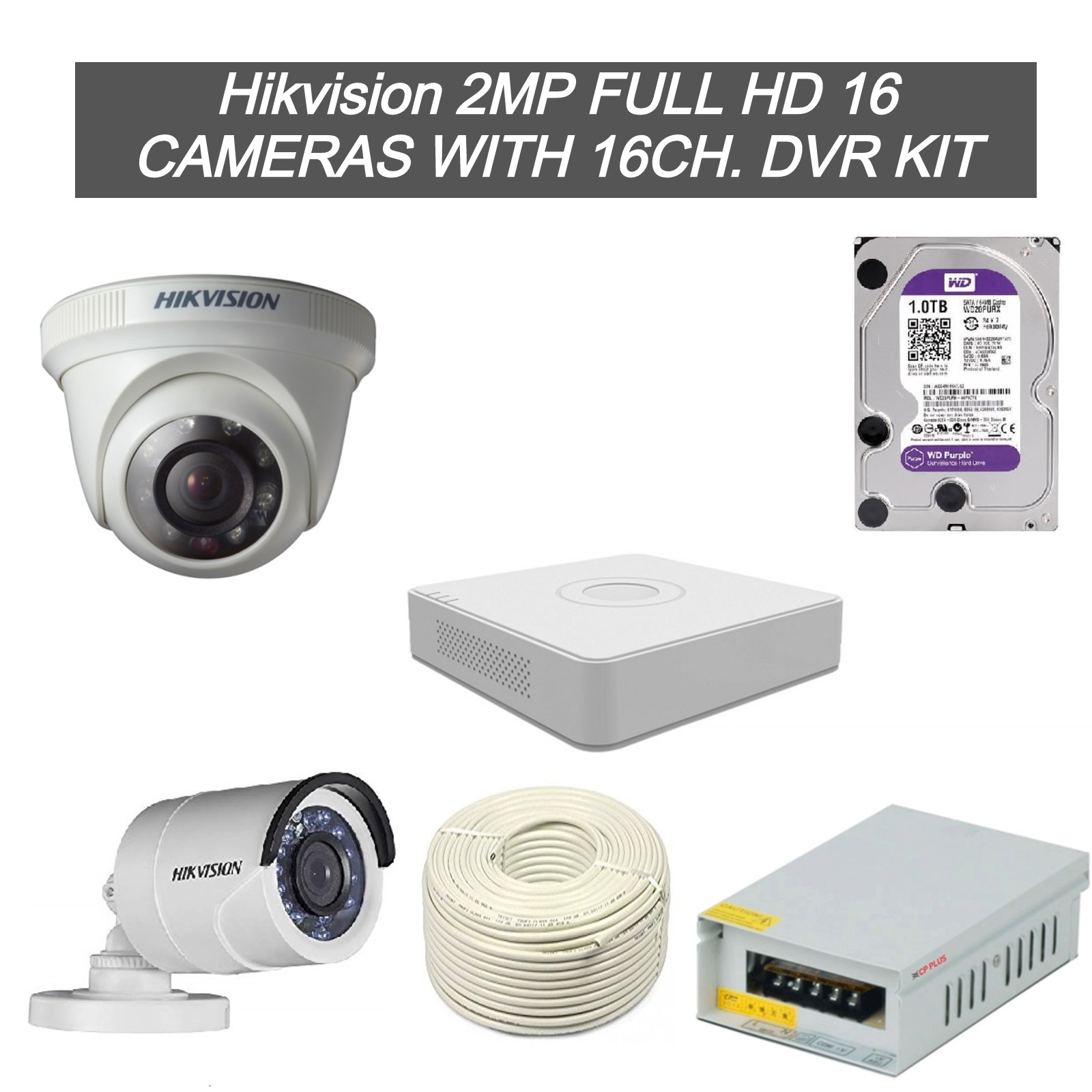 Hikvision 2MP Full HD 16 CCTV Cameras with 16Ch. DVR Kit